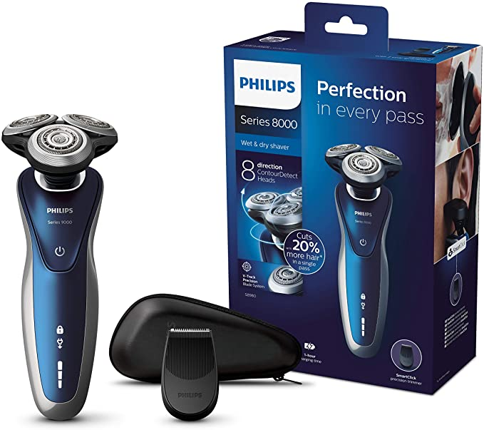 Philips SHAVER Series 8000 S8980/13 - Afeitadora (Máquina de afeitar de rotación, SH90, 2 año(s), Azul, Marina, Batería, Ión de litio): Amazon.es: Salud y cuidado personal