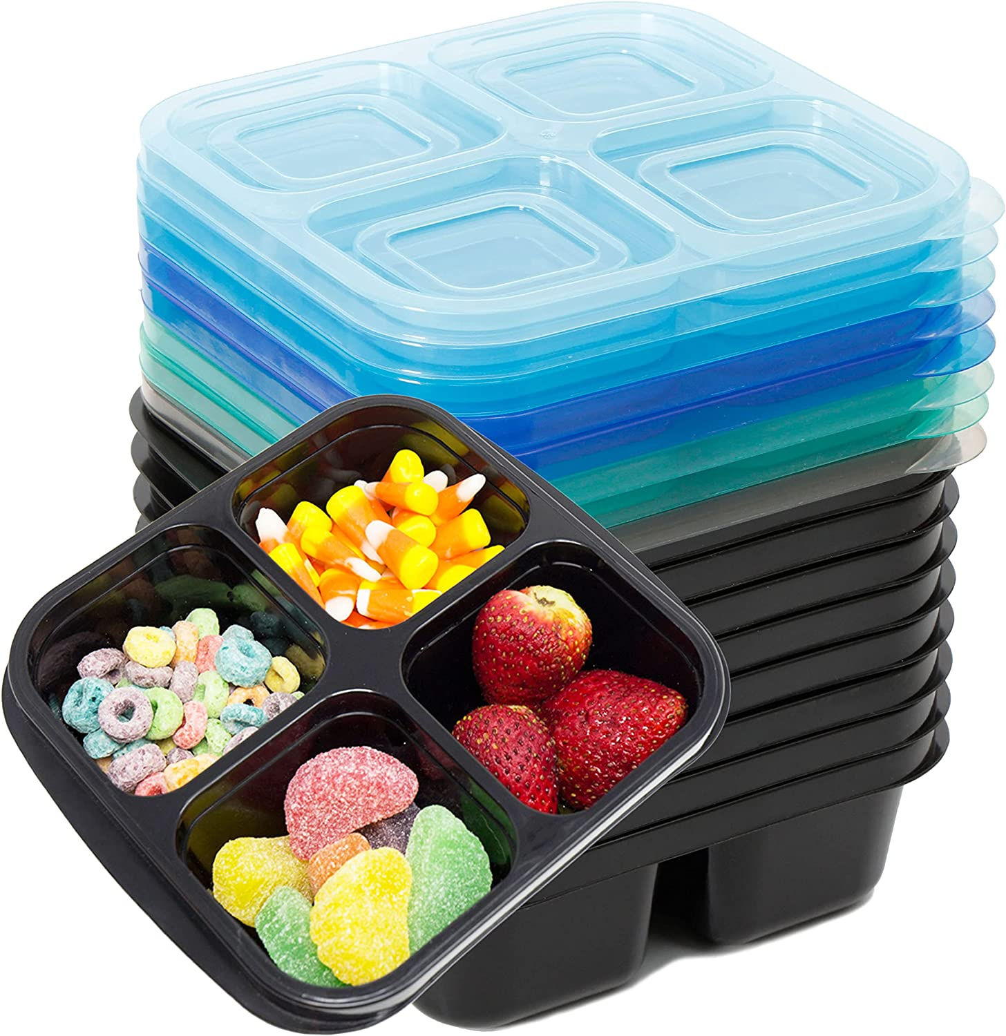 Youngever 8 Sets 4-Compartment Reusable Snack Box Food Containers, Bento Lunch Box, Meal Prep Containers, Divided Food Storage Containers, in 8 Coastal Colors