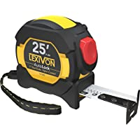 LEXIVON 25Ft/7.5m AutoLock Tape Measure | 1-Inch Wide Blade with Nylon Coating, Matt Finish White & Yellow Dual Sided Rule Print | Ft/Inch/Fractions/Metric (LX-205)