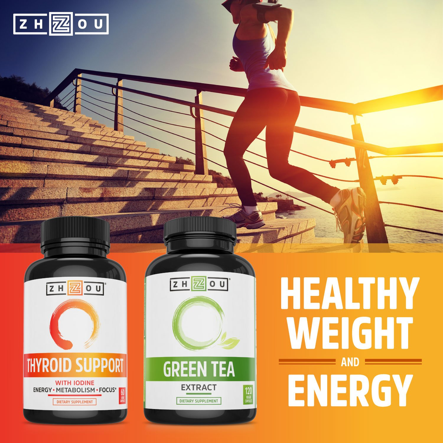 Thyroid Support Complex with Iodine - Energy, Metabolism & Focus Formula - Vegetarian, Soy & Gluten Free - 'Feel Like Your Old Self Again' by Zhou Nutrition