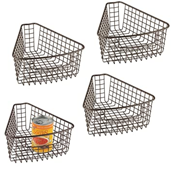 mDesign Juego de 4 cestas de almacenaje para bandejas giratorias – Robusta cesta de alambre para