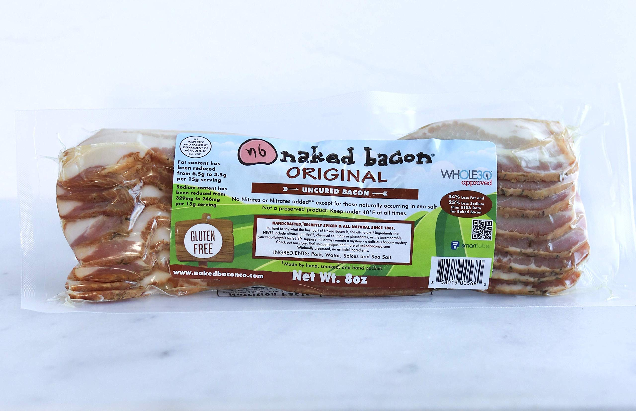 Original Sugar Free Naked Bacon - Whole30 Approved Multipack (5 packages)