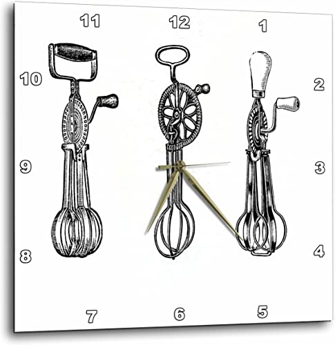 3dRose DPP_61884_1 3 Vintage Egg Beaters Wall Clock, 10 by 10-Inch