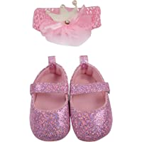 Baby Grow Baby Girls Booties First Walker Training Booties with Baby Headband Baby Gift Pack Baby Accessories 6-9 Months