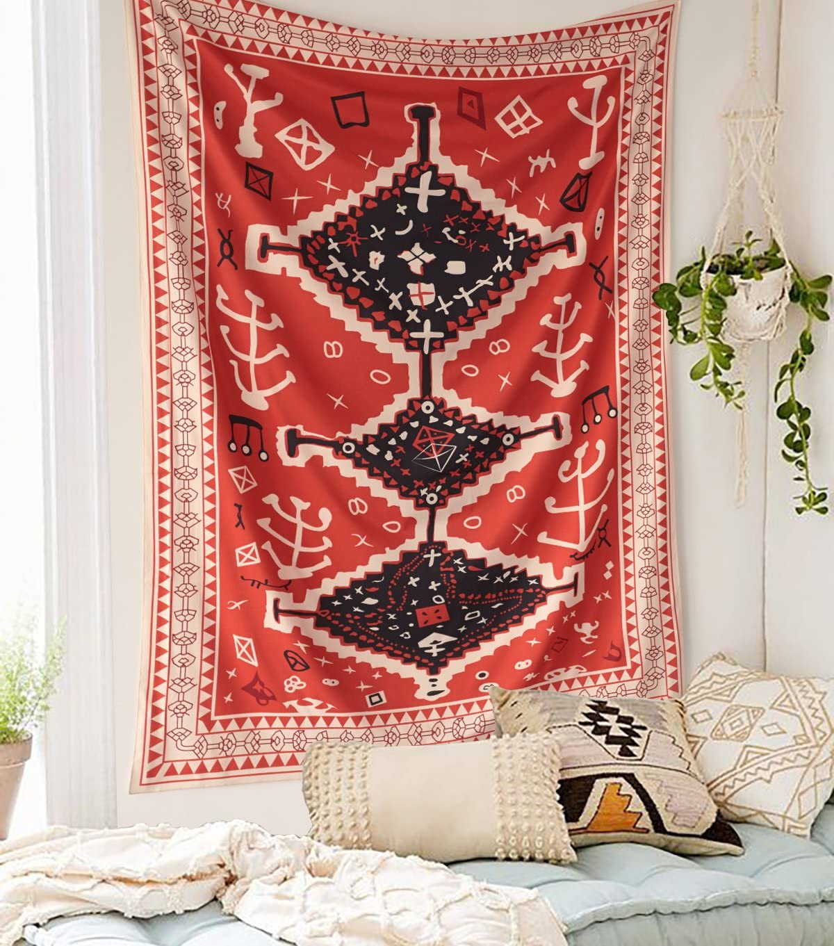 "Morocco Inspired Wall Tapestry Fabric Wallpaper Home Decor,60""x 80"",Twin Size"