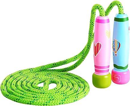 KONVINIT Cuerda para Saltar con Mango de Madera Colorido para niños Cuerda de Salto Ajustable de 102 Pulgadas para Fitness y pérdida de Grasa: Amazon.es: Deportes y aire libre