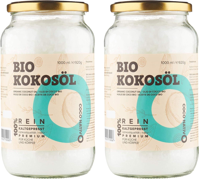 Aceite de Coco CocoNativo Orgánico Virgen Extra Ecologico 2x1000 ml (2 Liter), Extracción En Frío, Fuente De Energía Natural Para Deportistas, ...