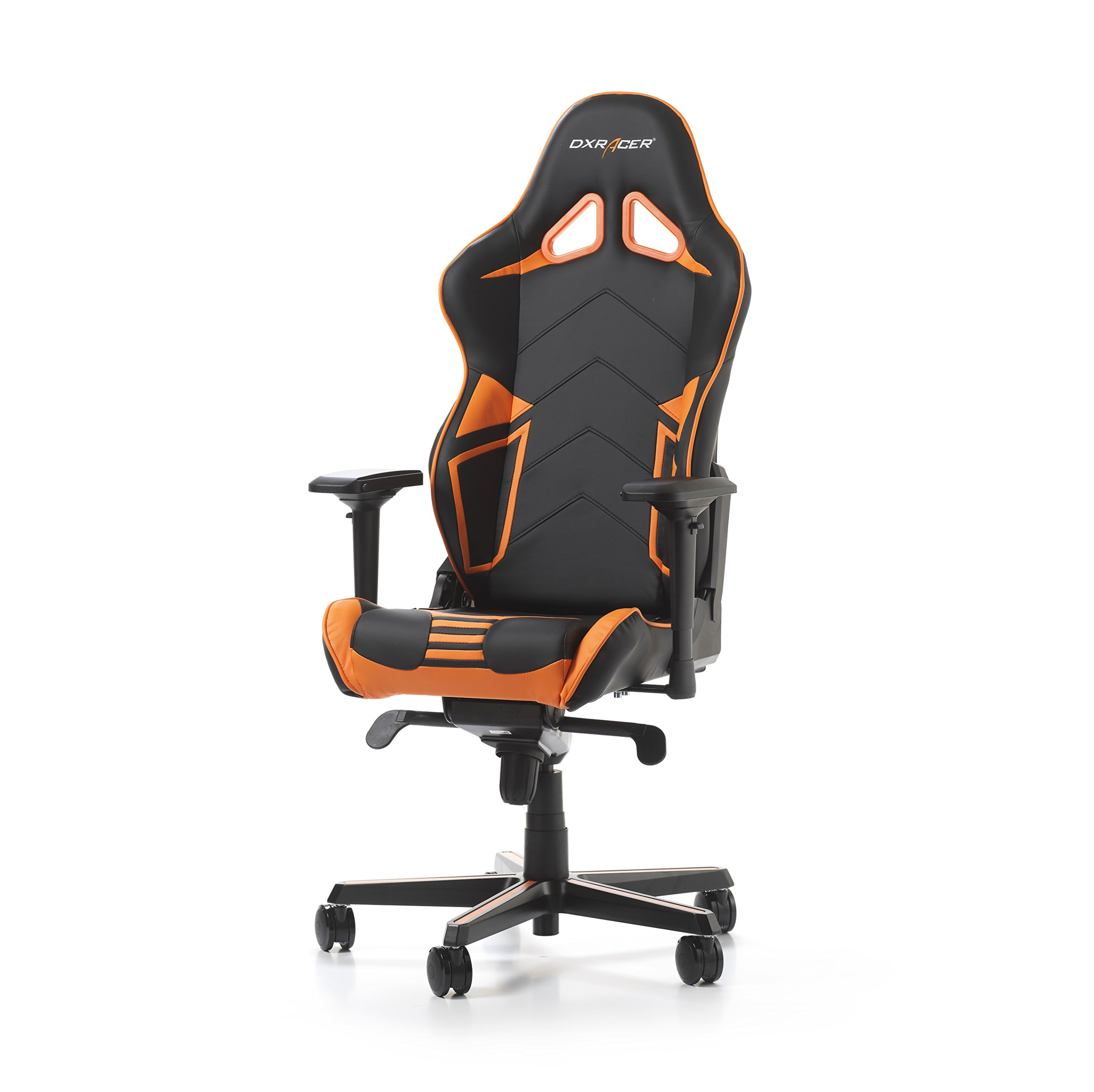 DXRacer Racing Series PU Leather OH/RV131/NO Racing Seat Office Chair Gaming Ergonomic Adjustable Computer Chair with - Includes Head and Lumbar Support Pillows (Black/Orange) by DXRacer