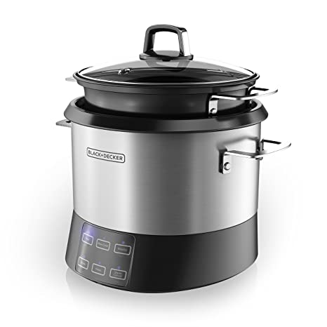 BLACK+DECKER RCR520S All-in-One Cooking Pot, 20-Cup Cooked/10-Cup Uncooked  Rice Cooker, Slow Cooker and Food Steamer with Saute Function, Stainless ...