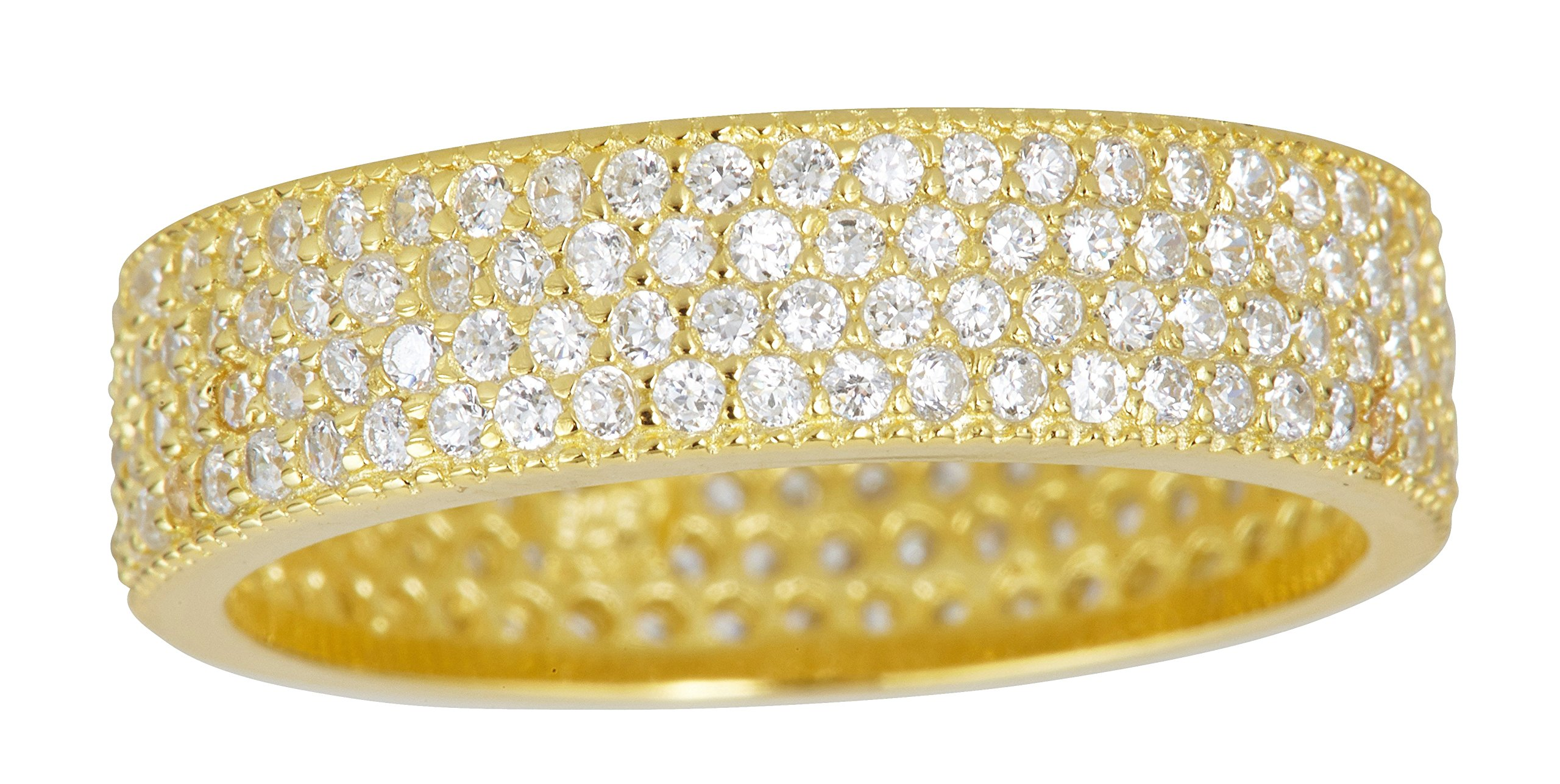 Sterling Silver Yellow Gold 4 Row Round Cut Cubic Zirconia Eternity Band Fashion Ring