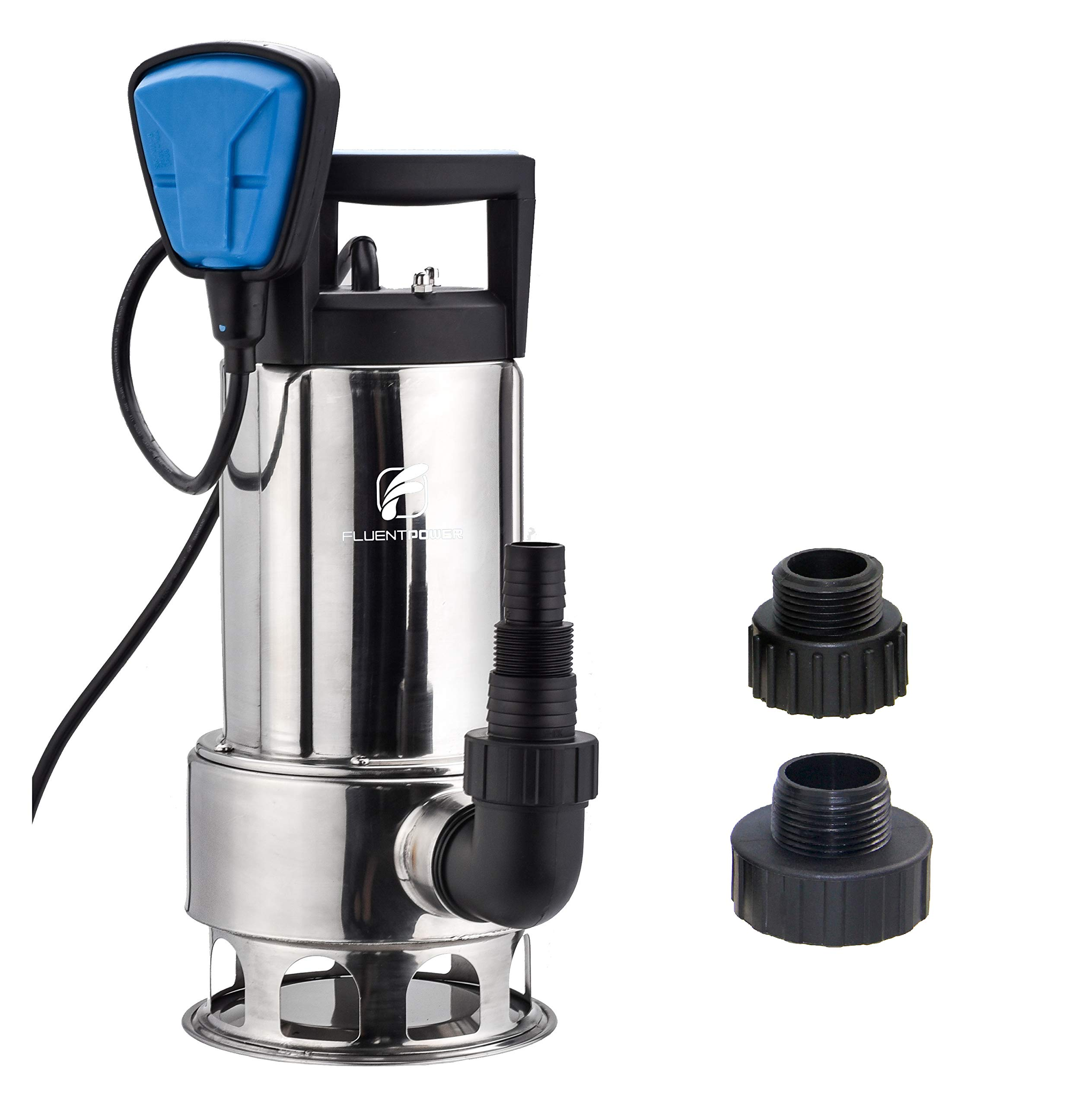 FLUENTPOWER Stainless Longer Duration Submersible Water Removal Pump, with Voidable Float Switch Function, 3/4'' Standard Garden Hose Connector Included, 1HP 4000 GPH for Clean and Dirty Water by FLUENTPOWER
