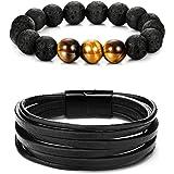 YADOCA 2 Pcs Bracelets for Men Women Bead Bracelets Black Leather Bracelet Tiger Eye Lava Rock Essential Oil Diffuser Bracele