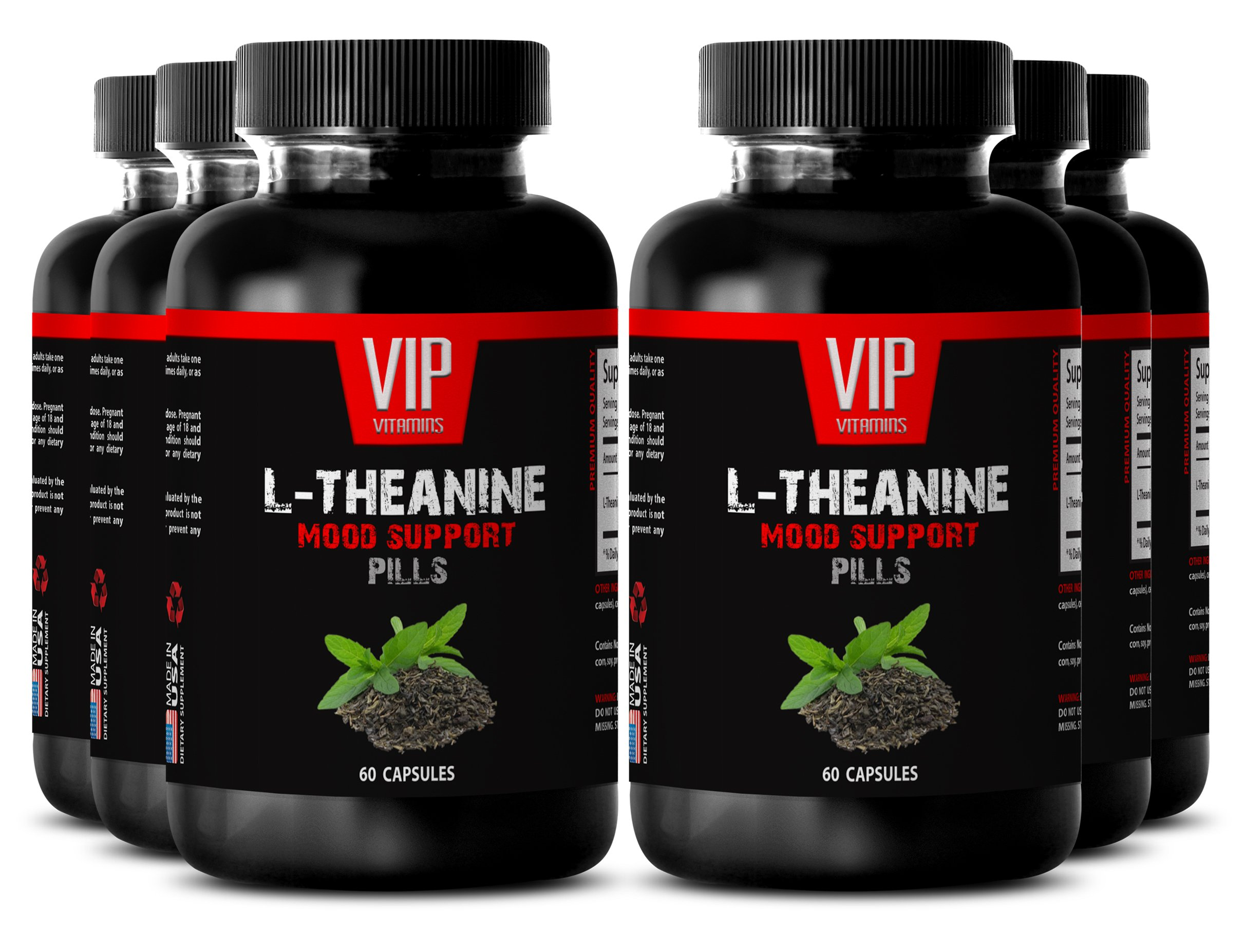 Natural help for anxiety - L-THEANINE MOOD SUPPORT - Anti stress supplement - 6 Bottles 360 capsules