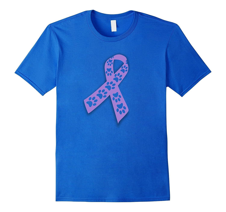 Animal Abuse Awareness Ribbon - Purple Paw Prints T-Shirt-T-Shirt