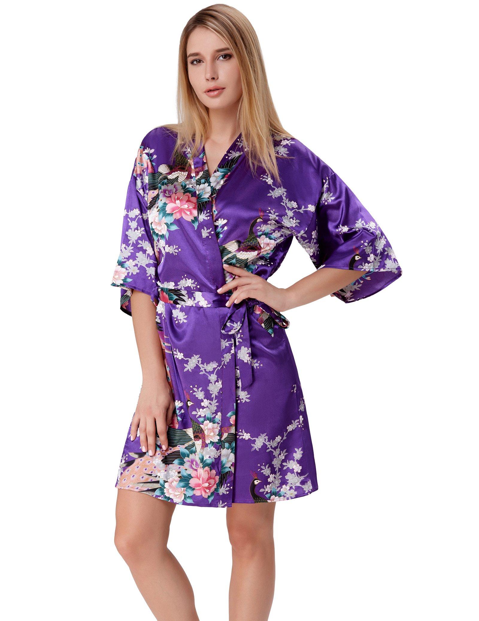 Plus Size Robes for Women Short Style Blossom Sleepwear Purple Size XXL ZE53-2