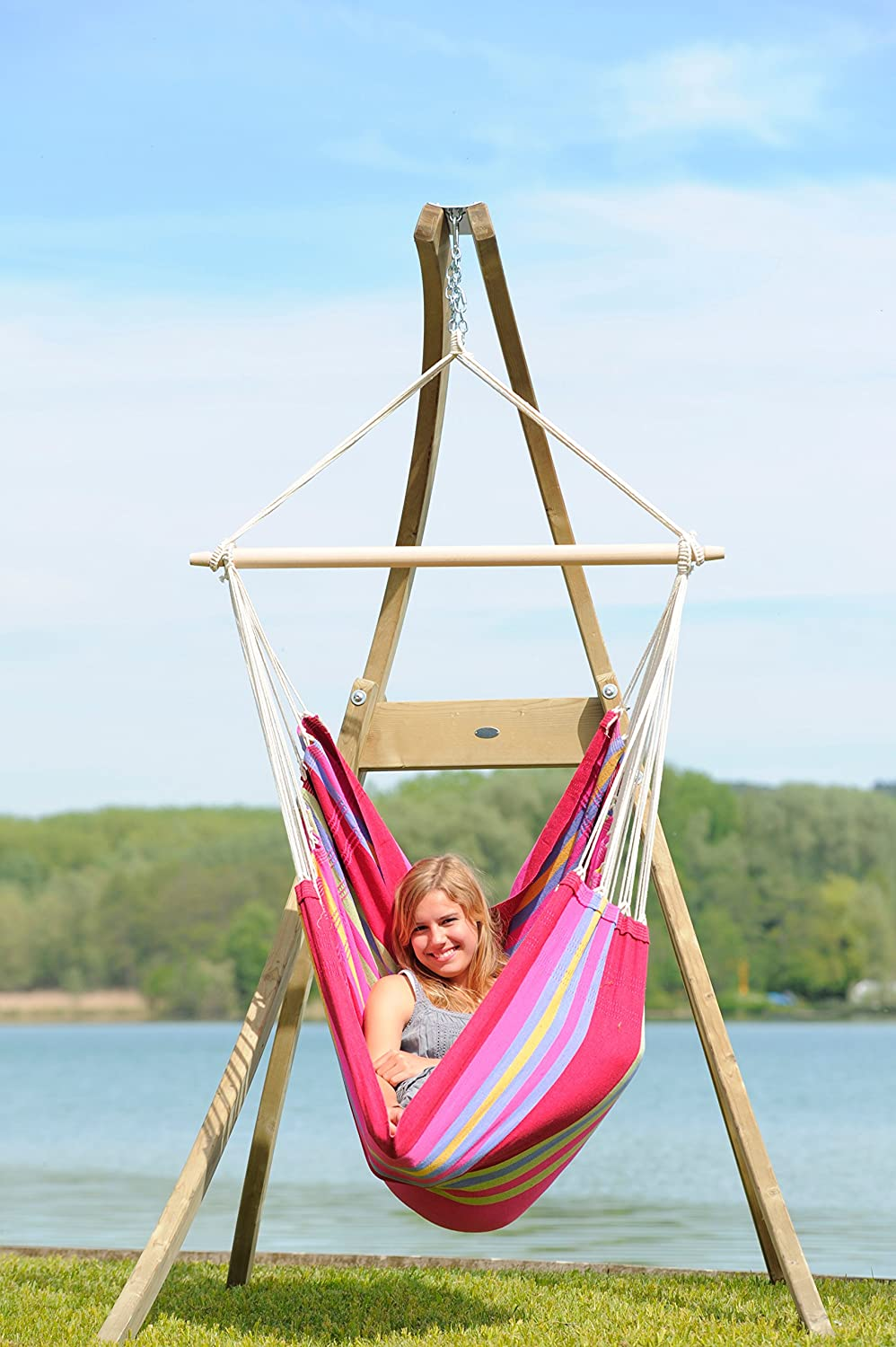 Amazon Com Byer Of Maine Atlas Hanging Hammock Chair Stand Treated Wood Construction Indoors And Outdoors Adjustable Height Holds Up To 350lbs Hammock Accessories Garden Outdoor