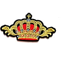 Nipitshop Patches Beautiful Gold Red Crown of The King Cartoon Kids Patch Embroidered Iron On Patch for Clothes Backpacks T-Shirt Jeans Skirt Vests Scarf Hat Bag