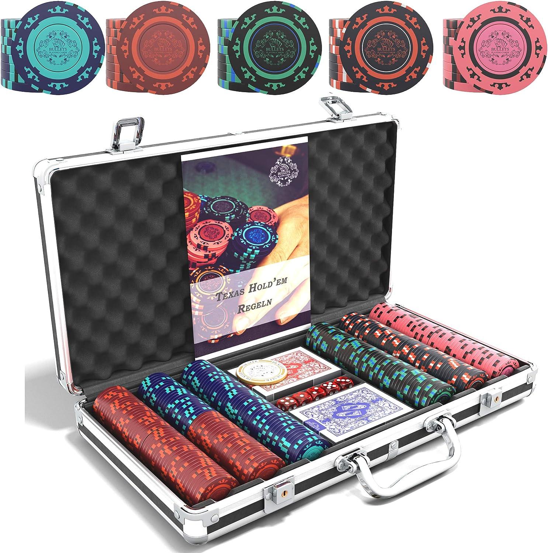 Estuche de póquer Corrado Deluxe con 300 fichas de póquer de arcilla sin valores, instrucciones de póquer, botón de crupier y cartas de póquer de plástico con balas: Amazon.es: Juguetes y juegos