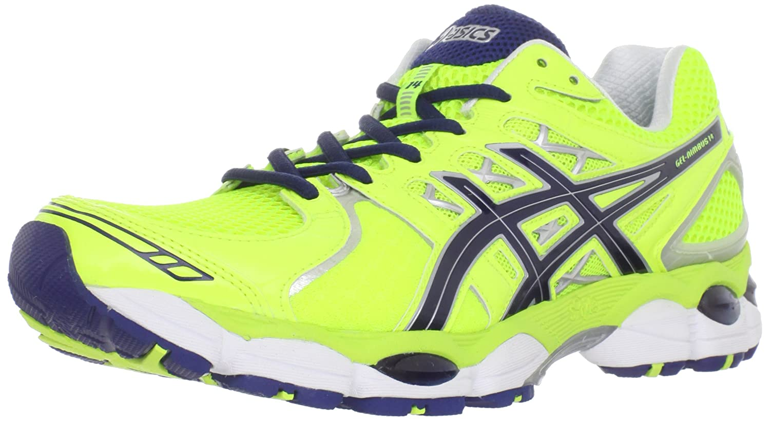 Amazon.com | ASICS Men's GEL-Nimbus 14 Running Shoe, Neon  Yellow/Navy/Lightning, 11 M US | Running