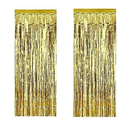 Amazon.com: bilipala dorado metálico con flecos cortina ...