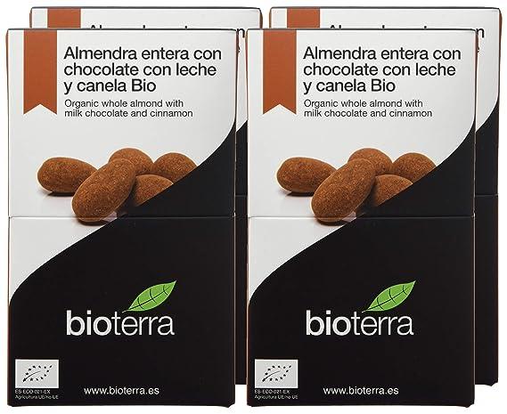 Bioterra, almendra entera con chocolate con leche y canela bio gourmet, 4 estuches de 100 g (Total 400 g): Amazon.es: Alimentación y bebidas