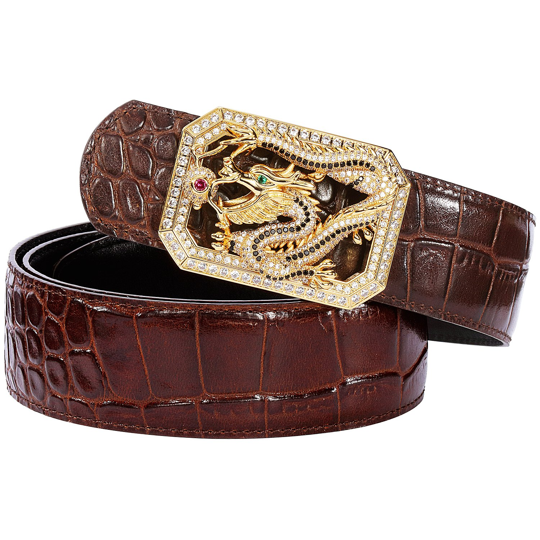 Men's Belts Luxury Genuine Leather Brown Dress Belt for Men Dragon Plaque Buckle Alligator Pattern
