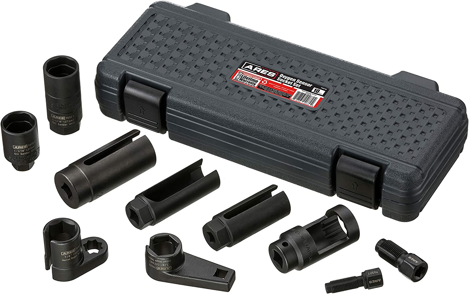 ARES 70318-10-Piece Oxygen Sensor Socket Set - Set Includes Thread Chasers, Oxygen Sensor Sockets, an Injector Socket and Oil Sending Unit Sockets - High Strength Chrome Vanadium Steel