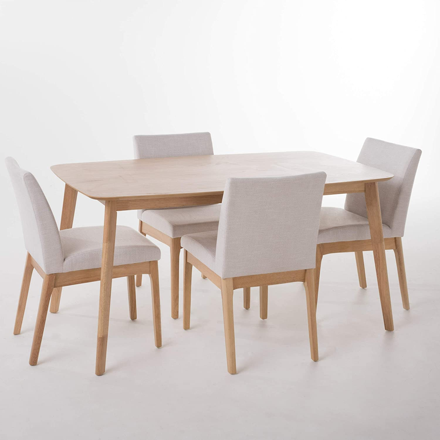 Katherine Light Beige Fabric Natural Oak Finish 60 Rectangular 5 Piece Dining Set