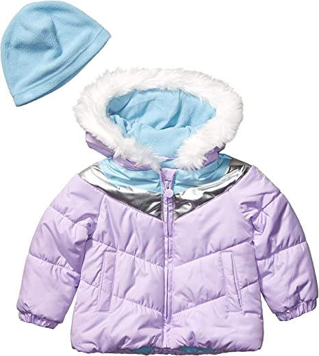 London Fog Girls Toddler Rhinestone Puffer Coat