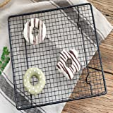 Baradu Stainless Steel Cooling Wire Grid Rack for Baking and Cooking (Black, 26x23cm)