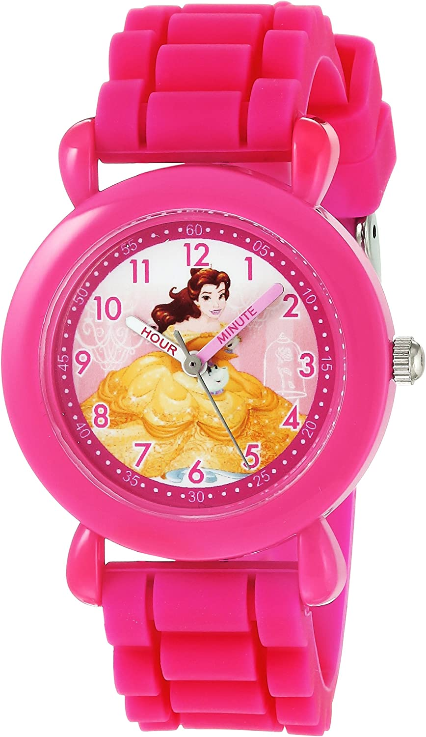 DISNEY Girls Princess Belle Analog-Quartz Watch with Silicone Strap, Pink, 16 (Model: WDS000146)