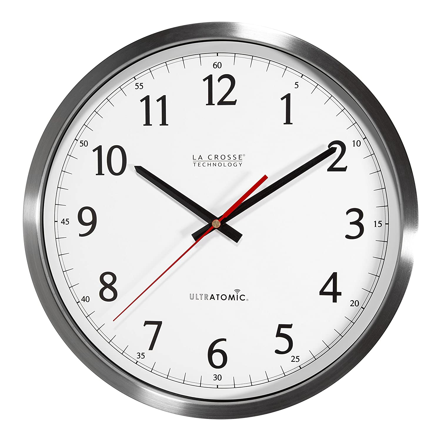 Amazon la crosse technology 404 1235ua ss 14 inch ultratomic amazon la crosse technology 404 1235ua ss 14 inch ultratomic analog stainless steel wall clock home kitchen amipublicfo Image collections