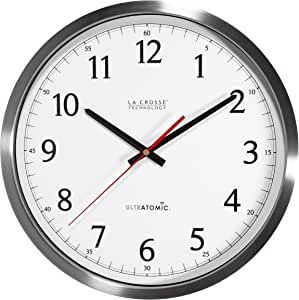 La Crosse Technology 404‐1235UA‐SS 14 Inch UltrAtomic Analog Stainless Steel Wall Clock