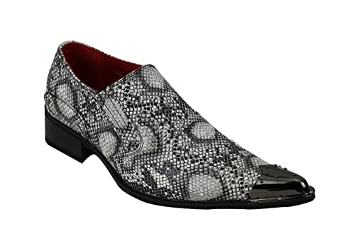 Mens Retro Metal Toe Winkle Pickers Black Grey Faux Snakeskin Print Leather Slip On Loafers Shoes