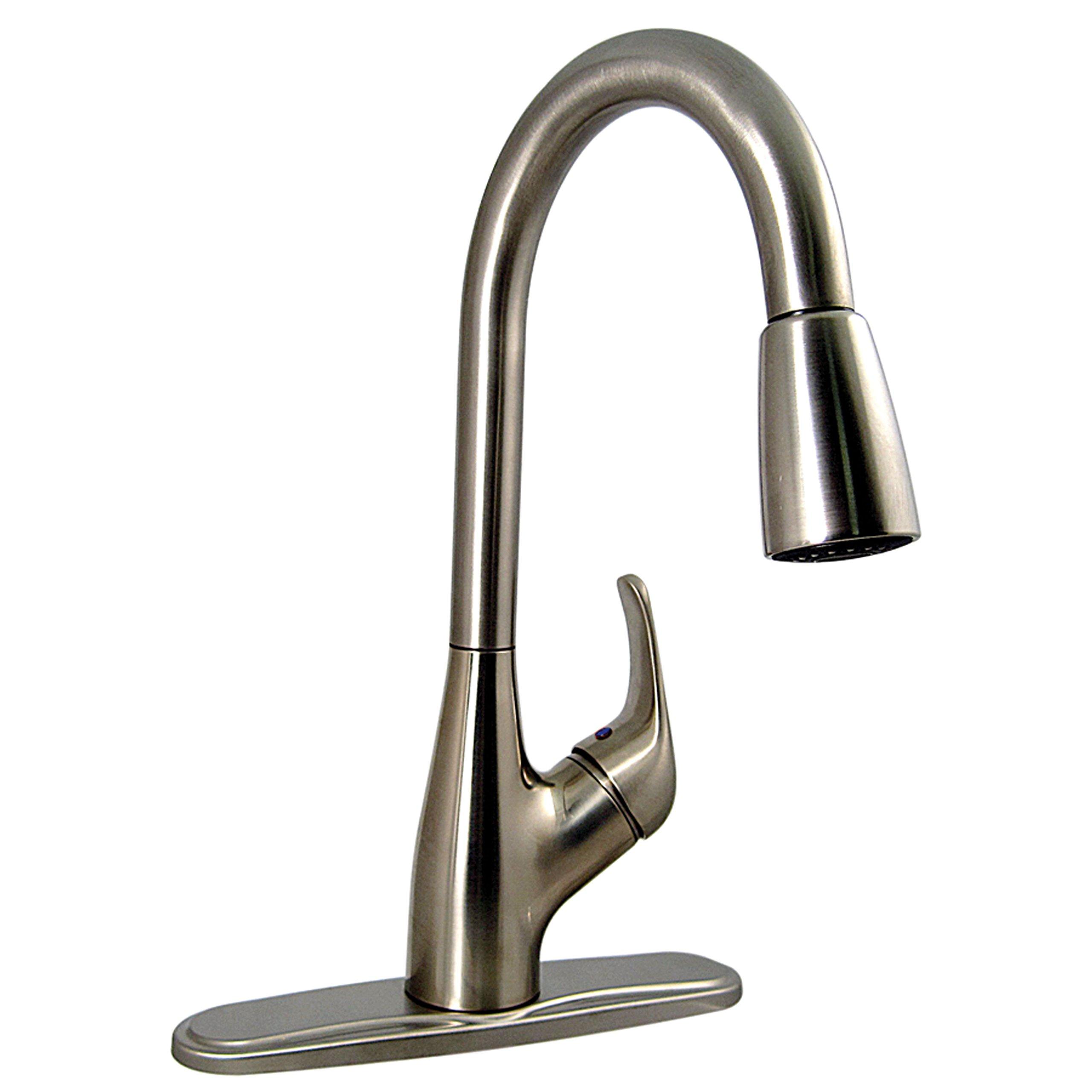 Phoenix Valterra PF231461 Single-Handle Pull Down Hybrid Kitchen Faucet with Spray Shut-Off-Brushed Nickel