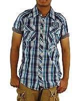 SCOTCH & SODA Men's Check Short Sleeve Western Woven Shirt,Large,Ocean TRIM FIT.
