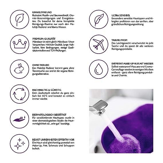 Toalla de Microfibra desmaquillante | Sólo se usa con agua | Toallitas para desmaquillaje | Makeup Eraser | Toallitas desmaquillantes y limpiadora facial ...