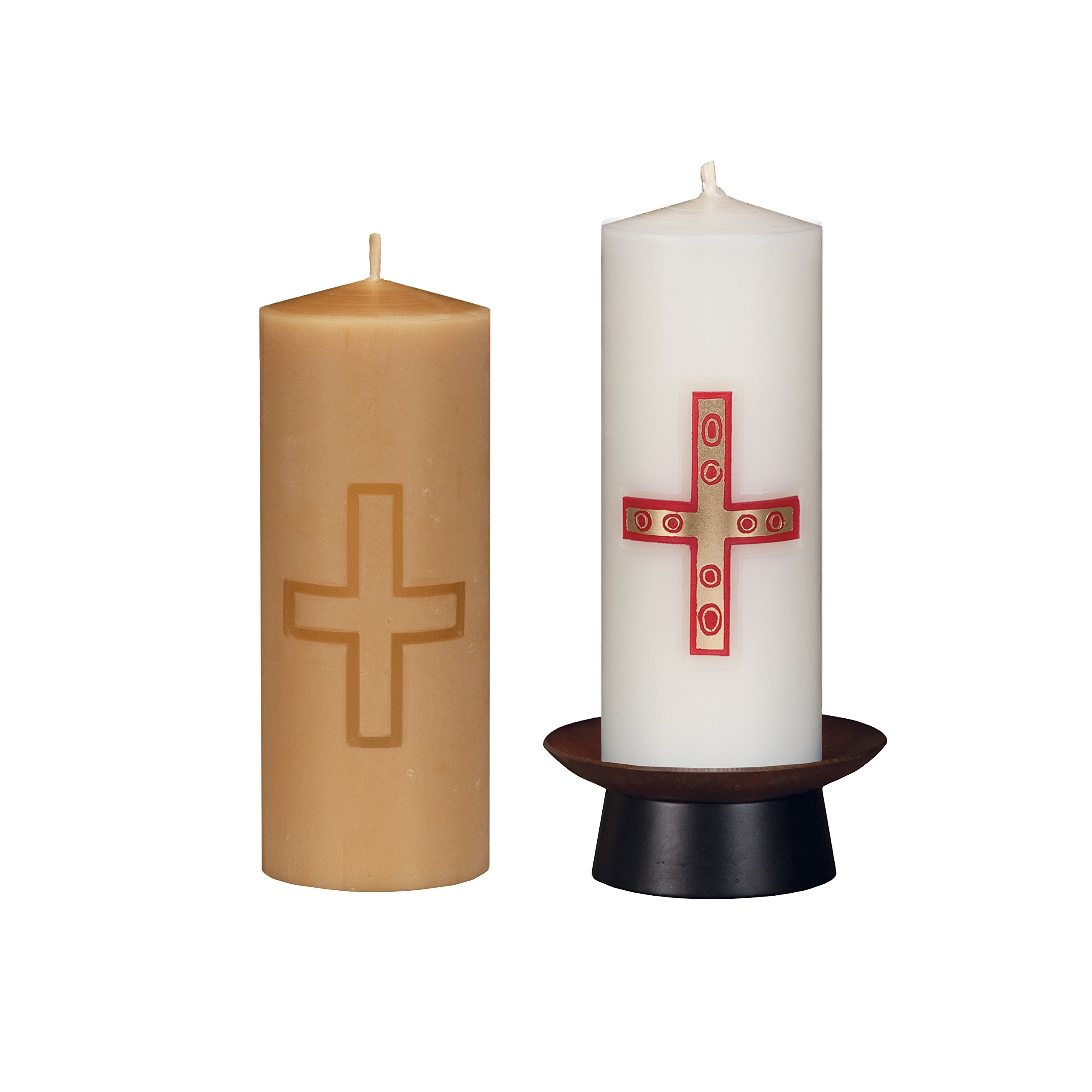 Beeswax Christos™ Candle Set; 2-1/2'' x 6'' candles with base; Gemmata™ design in red and 22K satin gold. Handcrafted in New England. Made in America. by Marklin Candle