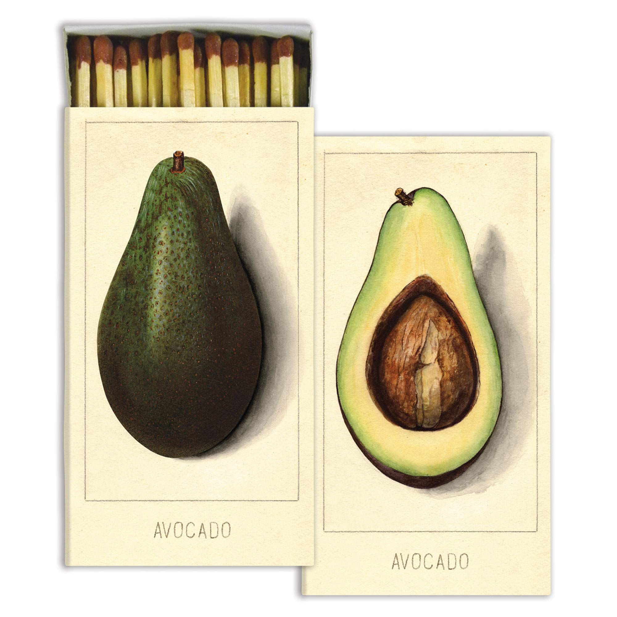 Decorative Avocado Match Boxes with Wooden Matches | Set of 10 Large Match Boxes