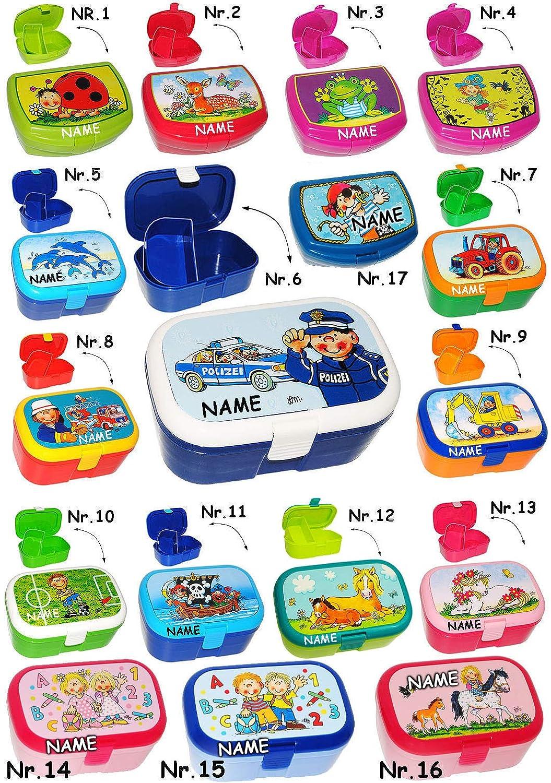 Brotdose / Lunchbox - lustiger Frosch - incl. Name - mit Herausnehmbaren Fach / extra Einsatz - Brotbüchse Küche Essen - für Mädchen & Jungen - Frösche - .. belldessa