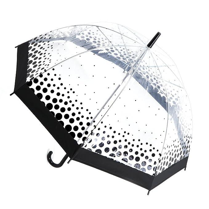 Paraguas transparente con detalle de lunares o corazones para mujer, Black (Polka Dots)