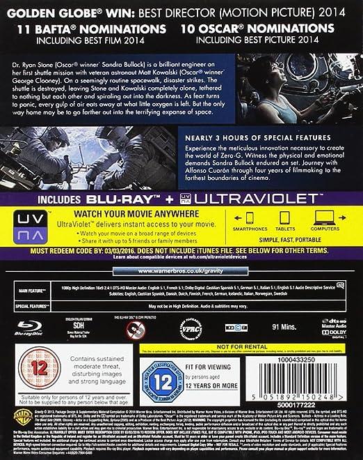 Amazon com: Gravity [Blu-ray]: George Clooney, Sandra