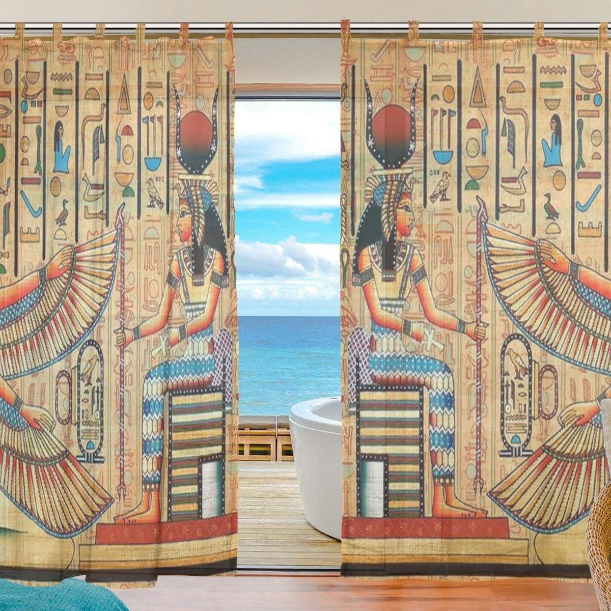 INGBAGS Bedroom Decor Living Room Decorations Retro Ancient Egyptian Art Pattern Print Tulle Polyester Door Window Gauze Sheer Curtain Drape Two Panels Set 55×78 inch,Set of 2