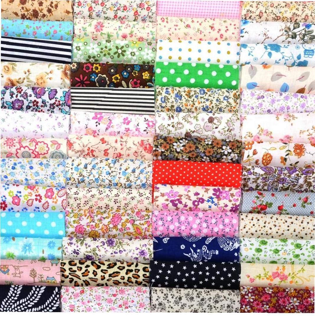 Aisoway 60pcs Set DIY Tela de algod/ón Bundle Remiendo de Costura Que acolcha Los Tejidos de Tela para la Costura Textil Ropa de Cama