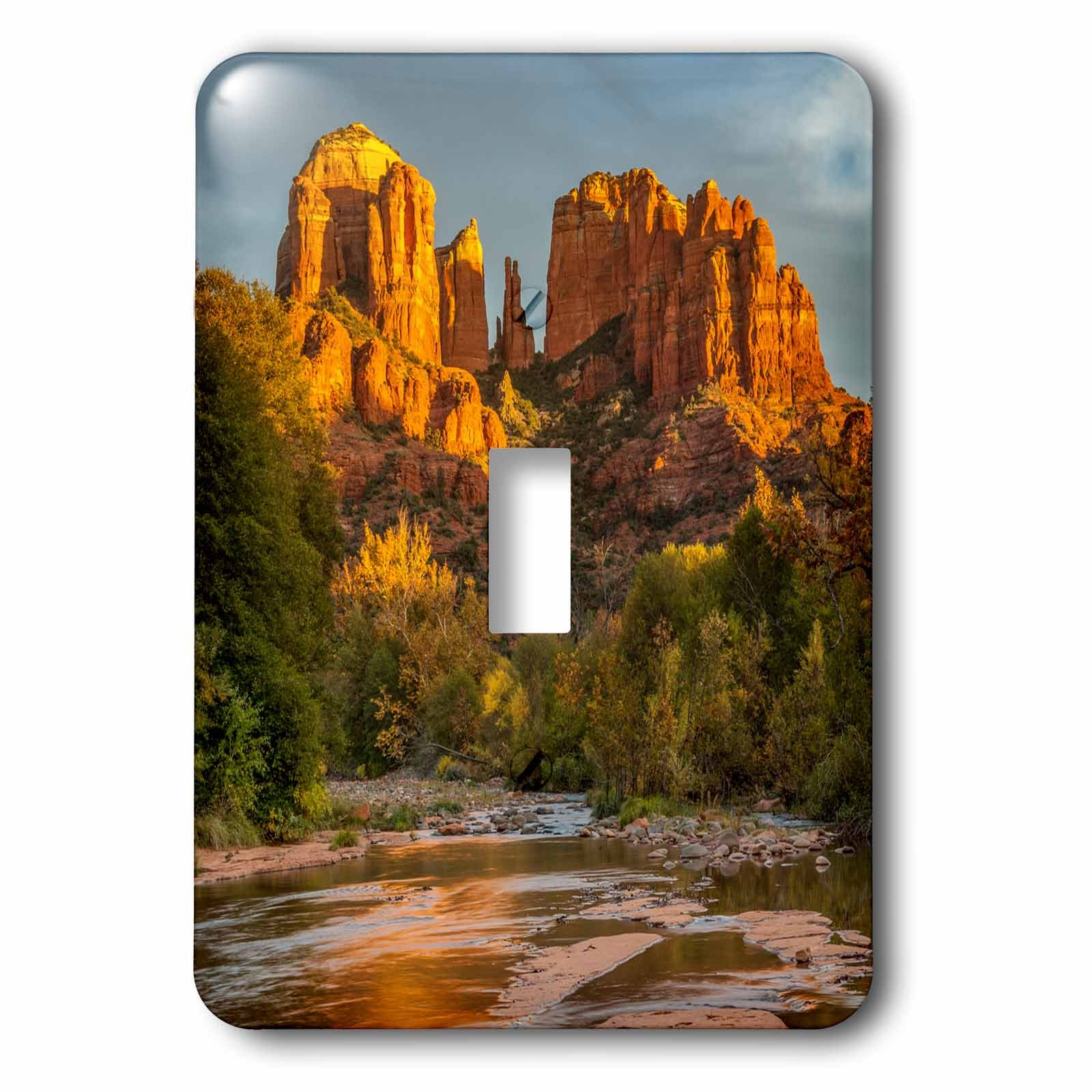 3dRose Danita Delimont - Deserts - USA, Arizona, Sedona, Cathedral Rock - Light Switch Covers - single toggle switch (lsp_278451_1) by 3dRose