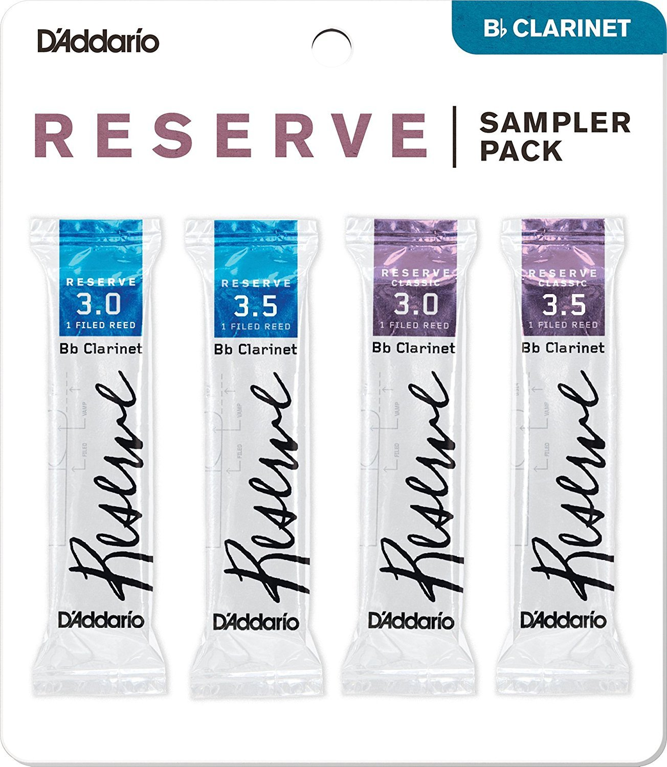 D'Addario Woodwinds DRS-C30 Reserve Bb Clarinet Reed Sampler Pack, 3.0/3.5