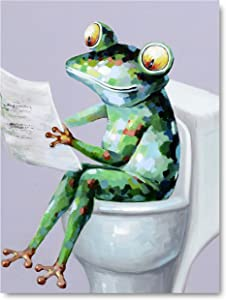 Yihui Arts Canvas Wall Art for Bathroom Cool Frog Painting Pictures with Framed for Decor