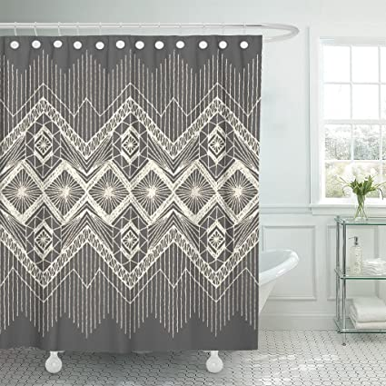 Emvency Shower Curtain Brocade Floral Fringe Border Knitted Woven Macrame In Boho Waterproof Polyester Fabric 60