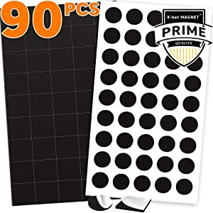"90 Magnetic Squares and Magnetic Dots (0.8"" x 0.8"") with Adhesive Backing - Peel & Stick Magnetic Squares and Circles - Flexible Sticky Magnets - Sheets is Alternative to Magnetic Stickers and Labels"