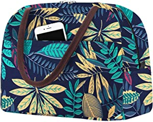 Lunch Bags for Women Insulated Lunch Box Men Cooler Bag Reusable Food Bag Thermal Lunch Tote Adult Meal Prep Containers Bag for Work Picnic Travel Outdoor Blue Leaf by Aosbos